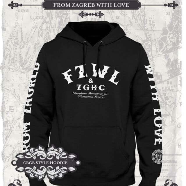 From Zagreb With Love hoodie CBGB crna